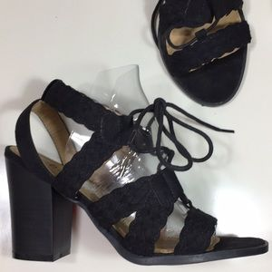 Diba Black Woven Suede Laced Chunky Sandal Size 7